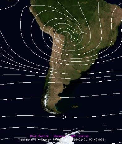 Climatología de viento en 200 hPa. (Fuente: NCEP-NCAR)